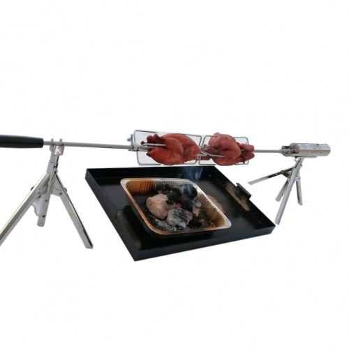Universal Grill Rotisserie Spit Rod Kit Portable Electric Rotating Skewer