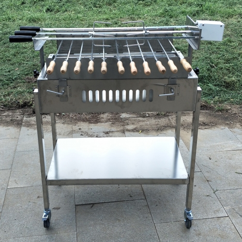 Cyprus Charcoal Grill Foukou with double adjustable speed Motor Stainless Steel BBQ Spit Rotisserie