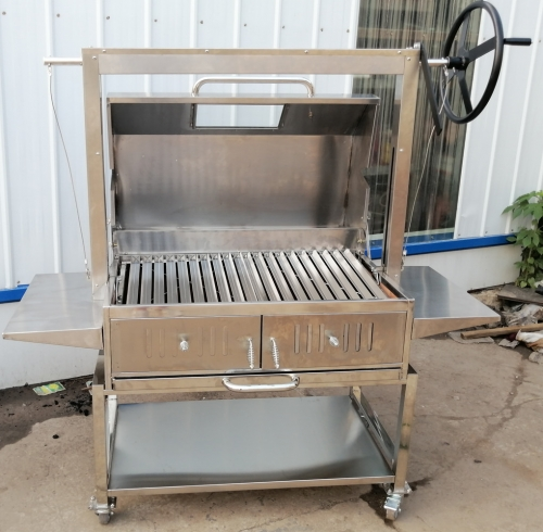 Stainless BBQ Grill Kit with Argentinian Adjustable Heights Charcoal Asado Grills