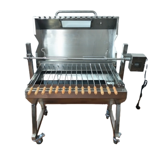 Rotating lamb Stainless Steel Charcoal BBQ Roster with kebab top set