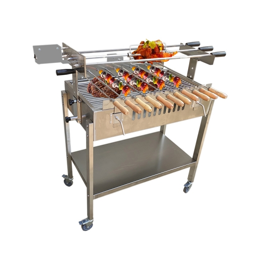 Cypriot Foukou Automatic Electric Motor Turning BBQ Charcoal Chicken Grill Machine