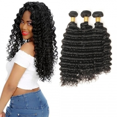Kbeth Deep Wave 3 Bundles/Lot 1b Color Peruvian Hair