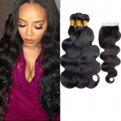 Kbeth Brazilian Body Wave Virgin Hair 3pcs With Lace Closure
