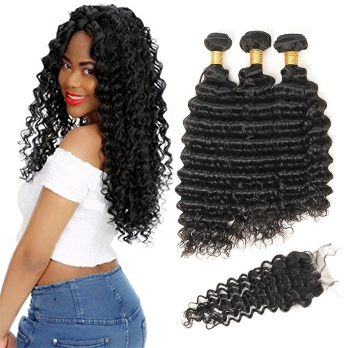 3 Bundles Deep Wave Hair With 4*4 Lace Closure Kbeth Brazilian Hair
