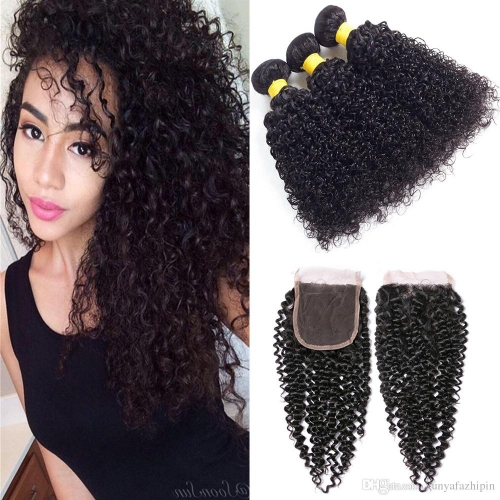 3 Bundles/Packet Kinly Curly Hair With 4*4 Lace Closure Kbeth Hair
