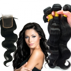 Body Wave 3 Bundles With Lace Closure Unprocessed Peruvian Hair