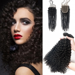 Kbeth Kinky Curly Hair 3 Bundles With 4*4 Lace Closure Soft Brazilian Hair