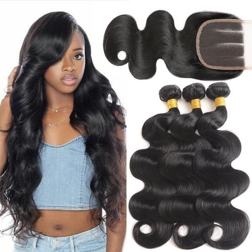 Kbeth Hair 3 Bundles Body Wave With Lace Closure Indian