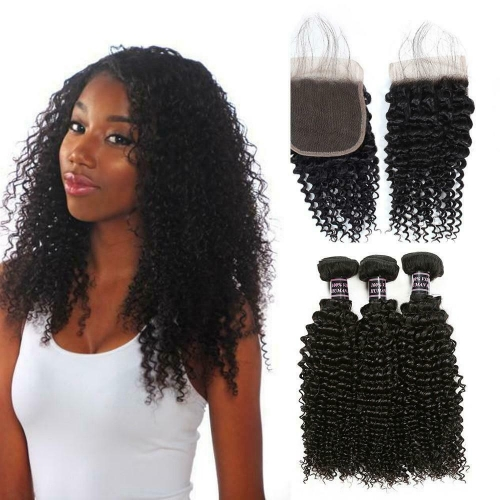 Kbeth Malaysian Virgin Hair 3pcs Kinky Curly With Lace Closure