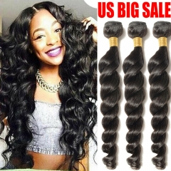Kbeth 3 Bundles 9A Loose Wave Indian Human Virgin Hair Extensions