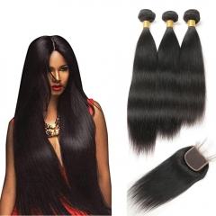 Kbeth High Quality 1 Piece Straight Lace Closure With 3 Pcs Virgin Straight Brazilian Hair Bundles