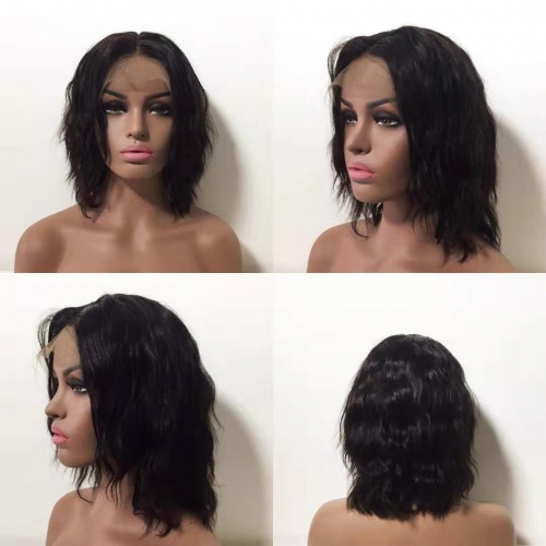 Women Lace Front Brazilian Human Hair Middle Short Part Wavy Wig 10inches