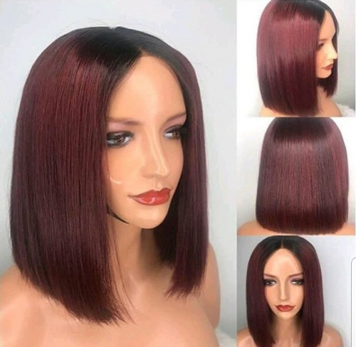 Frontal Lace Bob Wig 1B/99j Burgundy Red Ombre Color Straight Bob Wig Brazilian Remy Hair Straight Short Bob Wigs With Baby Hair - 1b/30 Hair Bob Styl