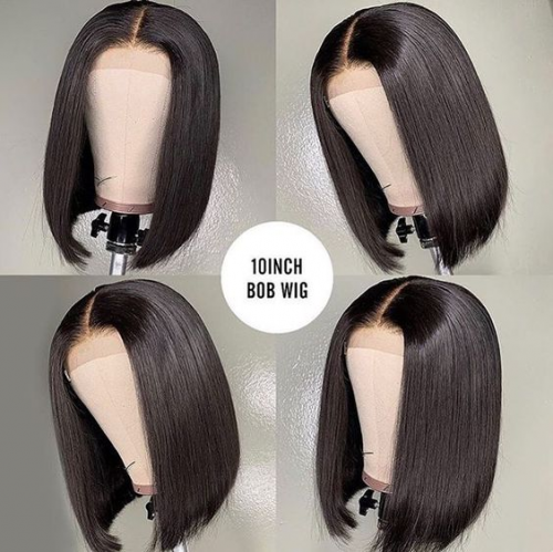 Bob wig Length: 10inch Lace Size: 13*4 Lace wig Density: 180%