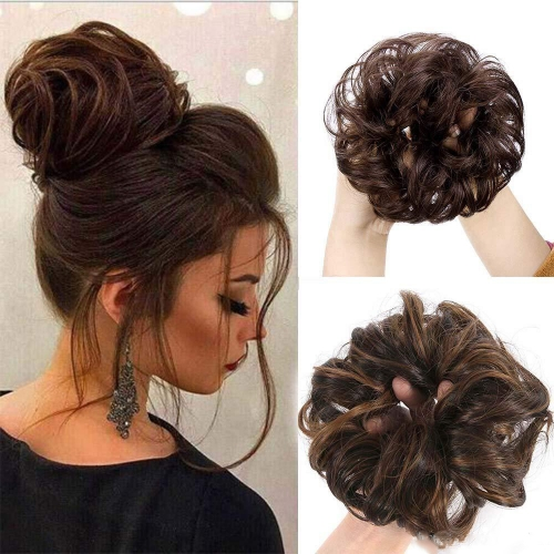 Kbeth Messy Bun Hair Up Scrunchie 2Pcs/Set 100% Human Hair Piece Ponytail Extension Headwear Headband Hair Extensions For Wedding And Party