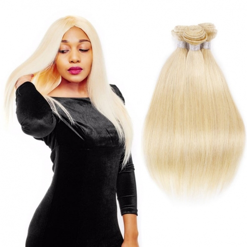 Straight 613 Blonde Human Hair Bundles With Closure  Blonde 613 Color Brazilian Virgin Remy Straight Human Hair Weave Bundle – Grade 12A -1 Piece/100g
