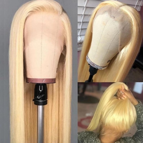613 Color Front Lace Wig Blonde(613) color - Straight style - 150% Density 100% Brazilian Human Hair