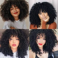 Kbeth Hair 180% Density Lace Frontal Wigs Brazilian Curly Wig Jerry Curl Wigs With Bangs