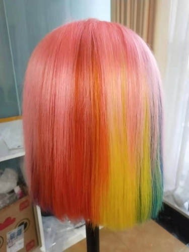 Kbeth Rainbow Colors Bob Wig 100% Human Hair Iridescent Color Frontal Lace Bob Wig