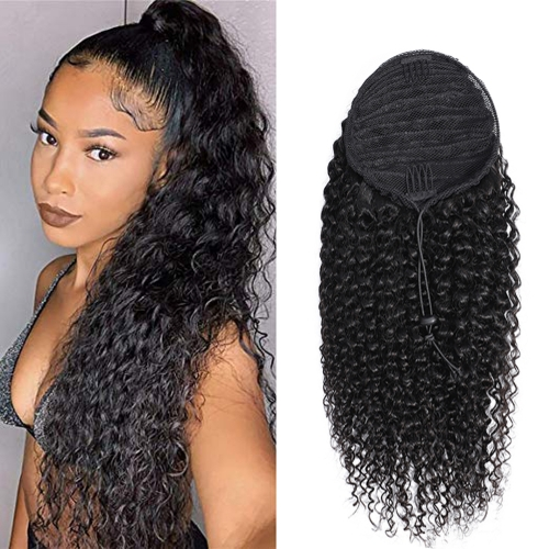 Straight / deep curl/jerry curl/kinky curl/afro kinky/Yaki Straight Kinky  Curly Ponytail Wrap  Ponytail 16inch each of them