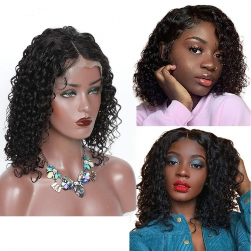 Kbeth Lace Front Wigs Human Hair Water Wave Bob Wigs for Black Women Brazilian Virgin Human Hair Wet and Wavy Lace Front Wigs