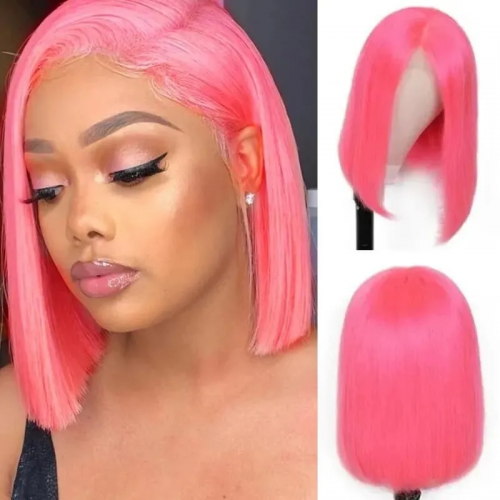 Kbeth Hair 10Inch 12Inch 14Inch 4*4  Lace Closure Wig Cute Pink Color 150 density Lace Bob Wig