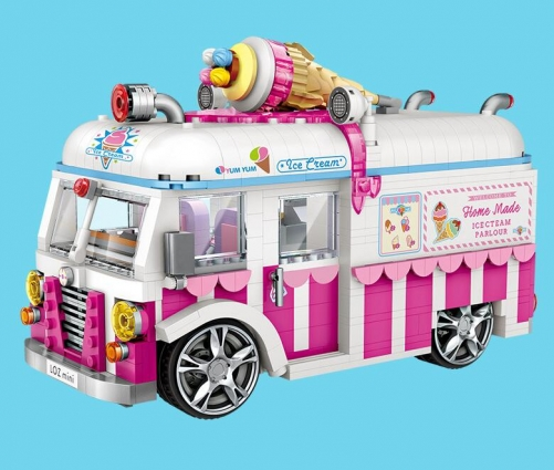 Mini Blocks Building Bricks Technic Ice Cream Van Pink Car Cake Bus Model Educational Assembly Kids Toys Gift Creator 1112