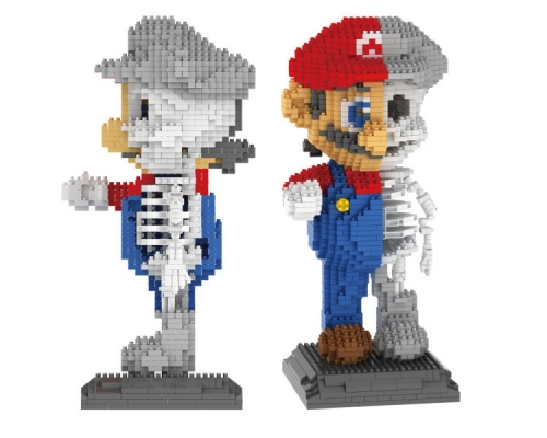 ZRK 7807 Japanese Anime Skeleton Series Super Mario Creator Magic Diamond Blocks 1686Pcs Building Blocks Toys Gift For Children