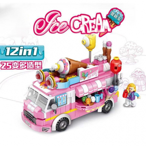 PANLOS 633047 Girl Series Ice Cream Truck 12-in-1 Street View Children's Puzzle Assembly Building Block Toys Ship From China
