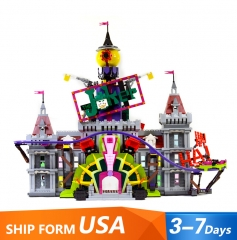 07090 3443Pcs Movie Series The Joker Manor Building Blocks Toys 70922