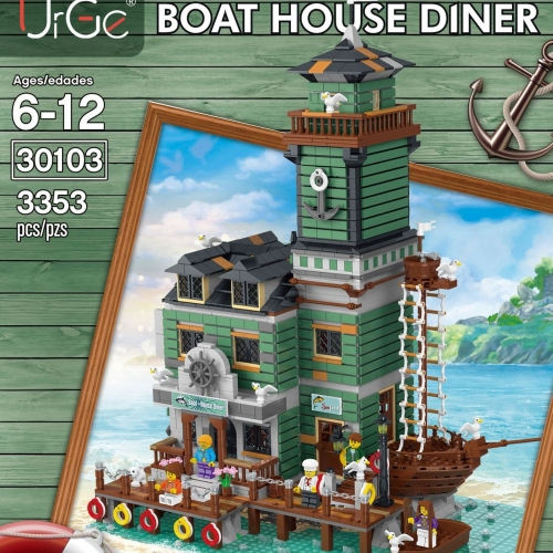 UG-30103 3353Pcs  Street View Model Building Blocks Idea Old Fishing Boat House Diner Restaurant Pier Architecture Bricks Toys  Ship From China