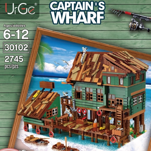 UG-30102 2745Pcs Street View Series Captain's Wharf  Building Block Model Bricks Collection DIY Toy Gift for Children  Ship From China