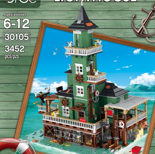 30105 3452Pcs The Lighthouse Street View Dock Children's Puzzle Assembling And Inserting Building Blocks Ship From China