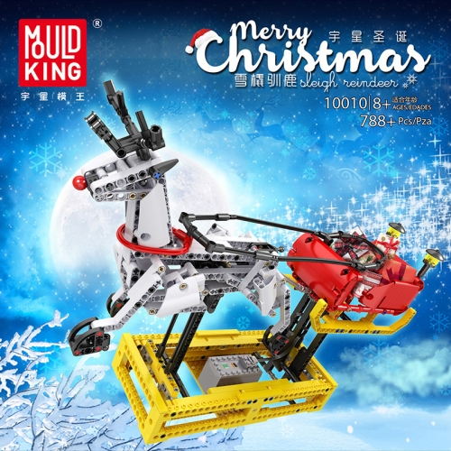 10010 788Pcs Christmas Series Sleigh Reindeer Electric Version Assembled Model Building Block Toy Gift Ship From China