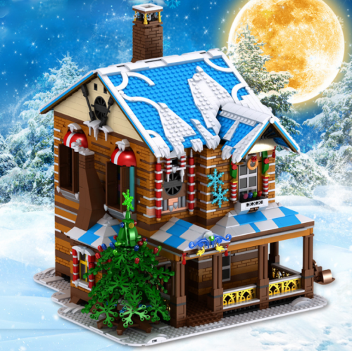 16011 3693PCS Christmas Series Christmas Cabin Light Spray Adult Assembled Model Building Block Toys Ship  From China