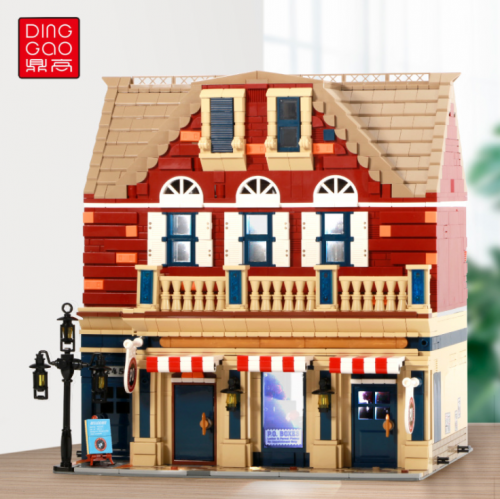 DG2002 3250Pcs Street View Series Lighting Version Post Office Building Model Puzzle Assembled Building Block Toy