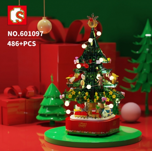 601097 486PCS Idea seriesChristmas tree music box Building Blocks Toys  Ship To China