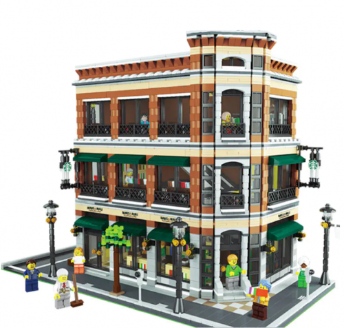 15017 4616Pcs Street View Series Bookstore and Starbucks Building Blocks Toy Ship From China