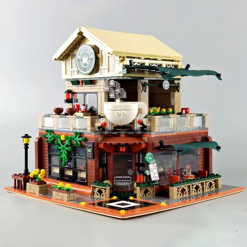 S601093 Street View Casual Coffee House with Light MOC Building Block Toy Ship From China