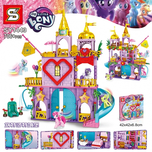 SY1443 706pcs My Little Pony Canterlot Castle Building Blocks Toy Ship From China