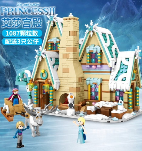 SY6850 1087Pcs Aisha Palace Snow Castle Winter Christmas Gingerbread House Girl Building Blocks Ship From China