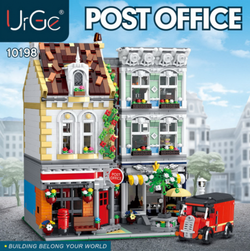 10198 3716pcs MOC Street View Series Post Office Building Model Children's Puzzle Assembled Building Blocks Ship From China