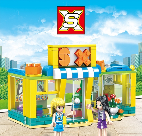 SX3051 297pcs Heart Lake City Building Block Experience Store Building Blocks Girl Toys Ship From China