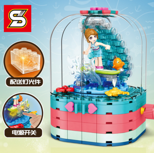 SY6567 263pcs S-girl Surf Girl Light Spinning Box Building Blocks Toy Ship From China