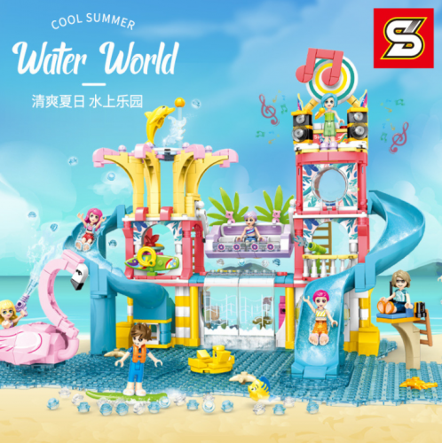 SY6570  971pcs  S-girl  Summer Water Park  Building Blocks Toy Ship From China