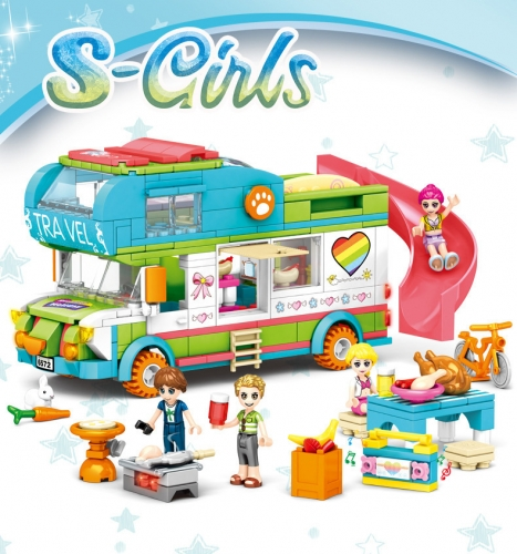 SY6572 S-girl Series Beach Camping Car Building Blocks 433Ppcs Toy Ship From China
