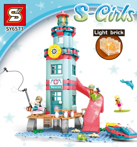 SY6573 282pcs S-girl   Beach Rescue Hut Building Blocks Toy Ship From China