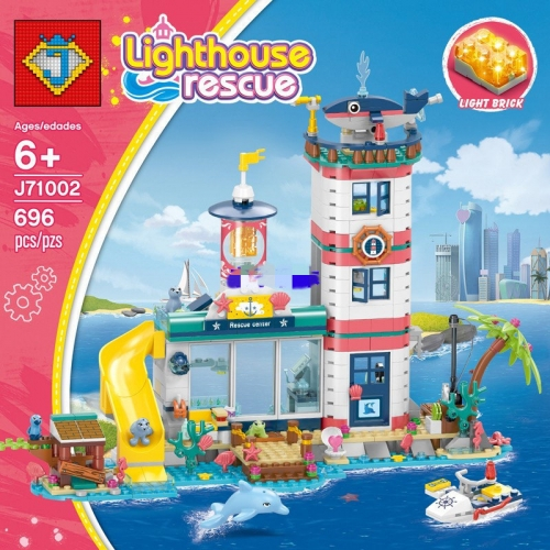 J71002 Girl Series Lighthouse Rescue Dream Castle Building Blocks Toy Ship From China