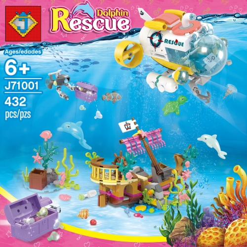 J71001 432pcs Girl Friends Series Submarine Dolphin Rescue Team Building Blocks Toy Ship From China