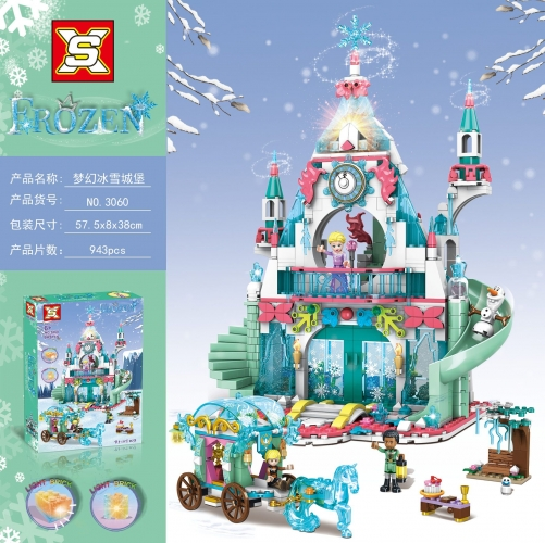 SX3060  943pcs Fantasy Ice Castle Building Blocks Toy Ship From China